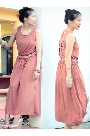 pink maxi soul dress - peach peep toe Aldo wedges