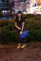 blue satchel HDY bag - black cuff bench jeans - black fedora hat