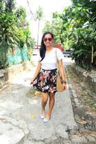 red heart sunglasses - camel satchel Parisian bag - black floral print skirt