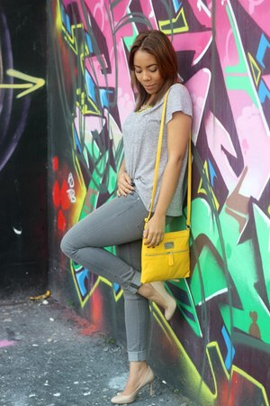 heather gray H&M jeans - yellow Nine West bag - Zara necklace