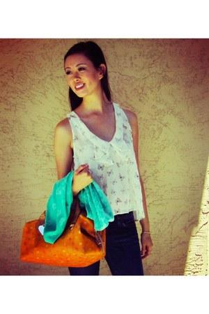 orange multi-colored dooney & burke bag - navy JBrand jeans