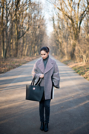 dark gray Zara jeans - black calvin klein boots - Studio DALLO coat