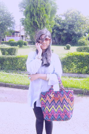 shirt - Zara leggings - purse - balenciaga sunglasses