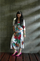 white vintage flea market dress - pink Marc Jacobs shoes - green Watch accessori