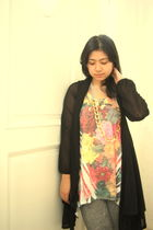 Forever 21 top - supre leggings - cardigan - necklace