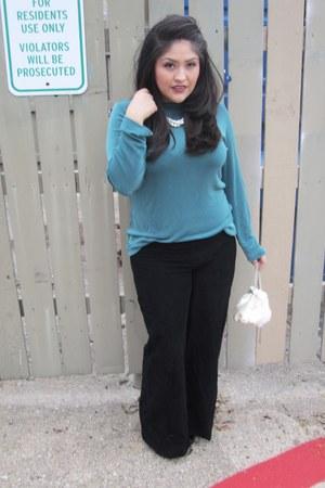 teal vintage blouse - black trift shop pants