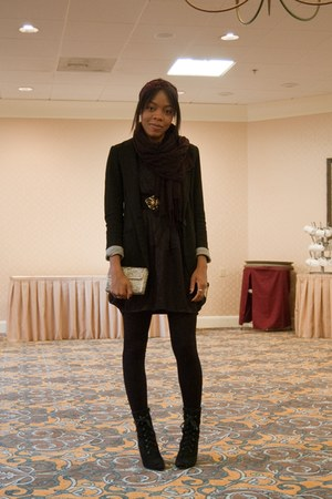 black Primark blazer - black H&M dress - black Urban Outfitters boots - black th