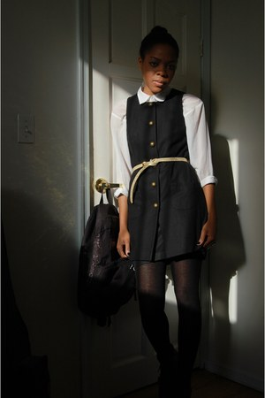 black Nine West boots - black Buffalo Exchange dress - white H&M blouse