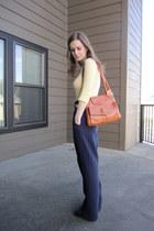 tawny vintage Lou Taylor purse - black Jessica Simpson heels - navy vintage lizs