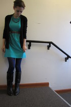 black Value Village cardigan - turquoise blue Target dress - blue Target tights