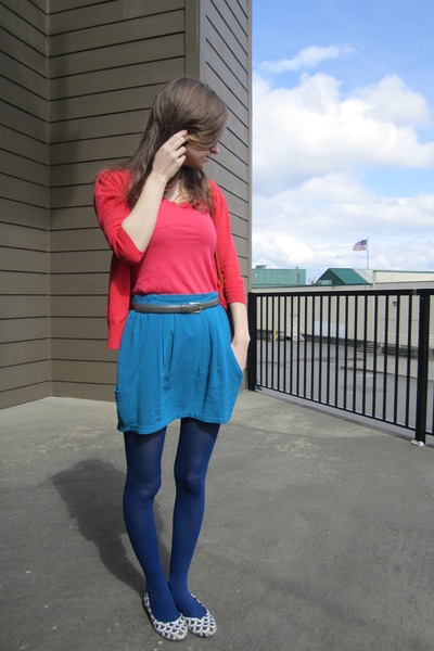 blue Target tights - red American Rag cardigan - turquoise blue PacSun suit - co
