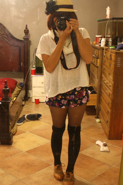 forever 21 shoe shoes - csub hat hat - thrift store bag - shorts - knee high soc