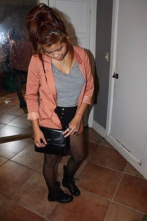 combat boots boots - orange blazer - t shirt grey shirt - char coal tights - rin