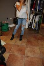combat boots - pacsun jeans - forever 21 shirt - thrift bag - thrift belt