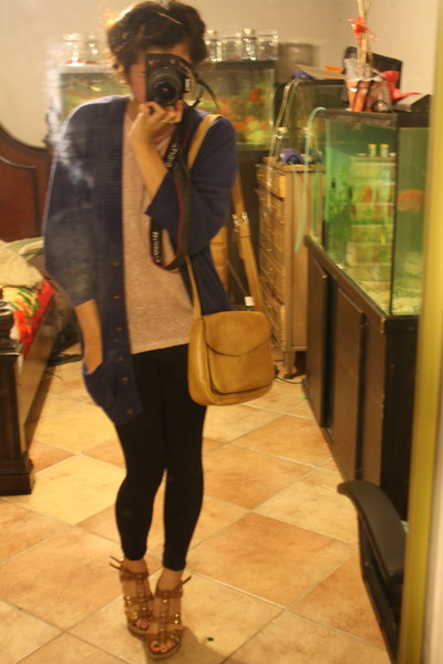 blue cardigan Forever 21 cardigan - Target leggings - thrift bag