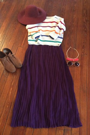 Forever 21 necklace - Loehmans dress - H&M hat - Ross sweater
