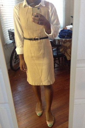 camel Forever 21 dress - white thrifted shirt - deep purple modcloth belt