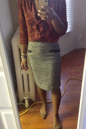 gray Forever 21 skirt - brick red Forever 21 blouse - brown flats