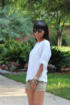 brown vintage sunglasses - olive green Forever 21 shorts - silver top