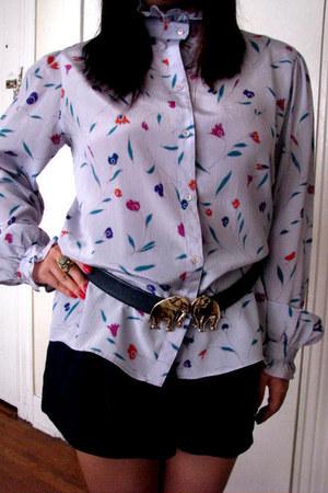 navy forever21 shorts - periwinkle vintage blouse - navy vintage belt