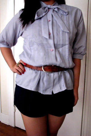 forever21 shorts - light purple vintage blouse - burnt orange soda wedges - burn