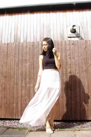 black Topshop top - white H&M skirt - light brown sm accessories sandals