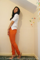 carrot orange H&M jeans - light pink Forever21 top