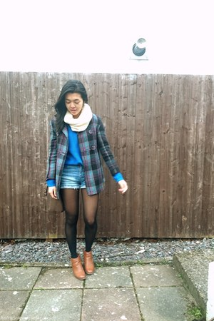 blue Primark jacket - brown Forever 21 boots - blue Forever 21 sweater