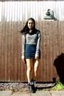 Black-forever-21-boots-charcoal-gray-primark-sweater-navy-forever-21-skirt