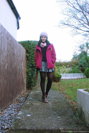 dark brown Forever 21 boots - hot pink Primark jacket - black Zara sweater