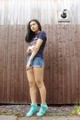 Blue-forever-21-shorts-turquoise-blue-primark-sneakers