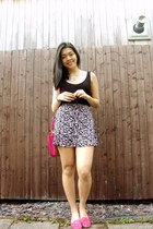 hot pink Lipsy London bag - hot pink H&M skirt - black Forever 21 top
