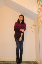maroon H&M sweater - black Forever 21 boots - blue Primark jeans - black H&M top