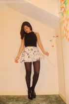 black Topshop top - white H&M skirt