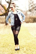 cut out OASAP leggings - studded jeans DIY jacket - black H&M shirt