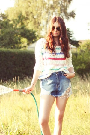 cropped jeans Silence  Noise shorts - striped Sparkle & Fade sweater