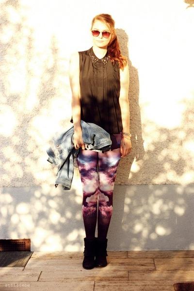 galaxy OASAP leggings - jeans vintage jacket - black Sparkle & Fade blouse