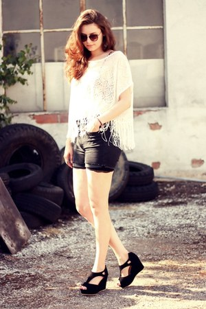cut-out OASAP wedges - fringed H&amp;M shirt - high waisted H&amp;M shorts
