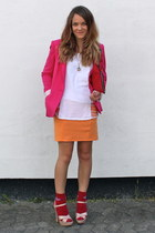 hot pink fitted Zara blazer - light orange stretchy H&M skirt - white cotton Bik