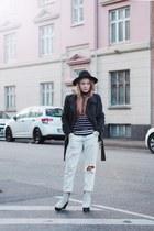black fedora Primark hat - light blue boyfriend Monki jeans