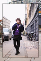 navy stine riis wool H&M jacket - deep purple boyfriend asos sweatshirt