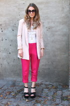 hot pink cotton Zara pants - light pink fitted H&M blazer