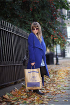 blue wool Soaked in Luxury coat - light brown dotted Primark sunglasses