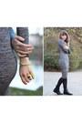Black-leather-jodphur-horze-boots-heather-gray-bodycon-midi-ax-paris-dress