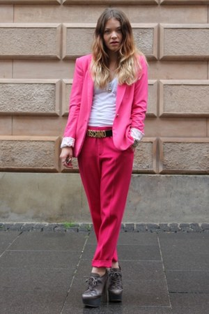 hot pink fitted Zara blazer - hot pink loose Zara pants - white cotton Only top