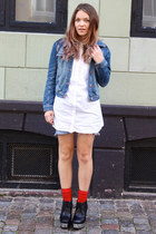 blue denim H&M jacket - white button up H&M shirt - sky blue denim Lee shorts