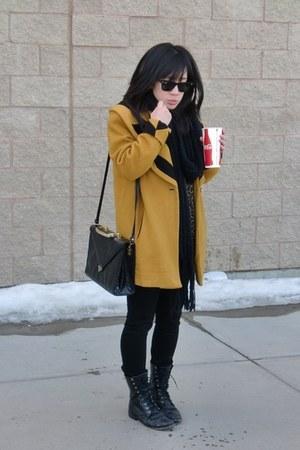 vintage boots - vintage coat - J Brand jeans - vintage shirt - vintage bag