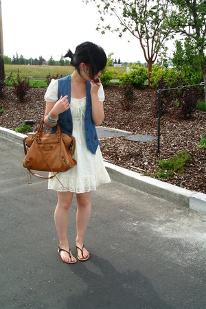 Levis vest - Jovovich Hawk dress - f21 shoes - balenciaga accessories