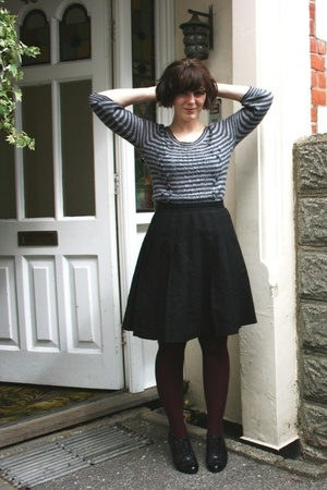 H&M sweater - thrifted skirt -  tights - new look shoes