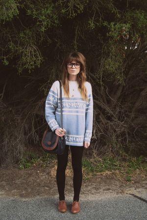 blue thrifted sweater - brown Sportsgirl shoes - thrifted bag - Sportsgirl glass